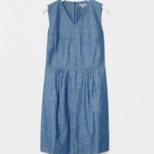 COS Chambray Sleeveless V-neck Linen Dress